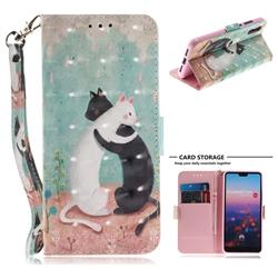 Black and White Cat 3D Painted Leather Wallet Phone Case for Huawei P20