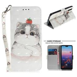 Cute Tomato Cat 3D Painted Leather Wallet Phone Case for Huawei P20