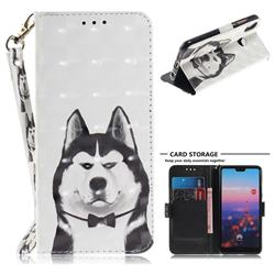 Husky Dog 3D Painted Leather Wallet Phone Case for Huawei P20