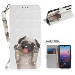 Pug Dog 3D Painted Leather Wallet Phone Case for Huawei P20