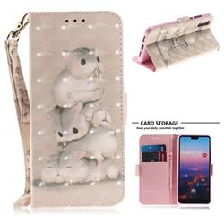 Three Squirrels 3D Painted Leather Wallet Phone Case for Huawei P20