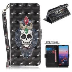 Skull Cat 3D Painted Leather Wallet Phone Case for Huawei P20