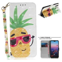Pineapple Glasses 3D Painted Leather Wallet Phone Case for Huawei P20
