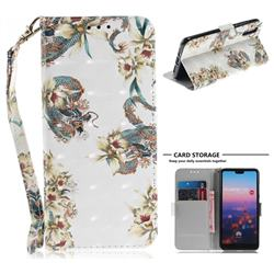 Dragon Flower 3D Painted Leather Wallet Phone Case for Huawei P20