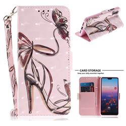 Butterfly High Heels 3D Painted Leather Wallet Phone Case for Huawei P20