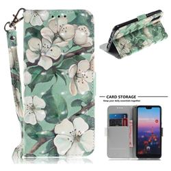 Watercolor Flower 3D Painted Leather Wallet Phone Case for Huawei P20