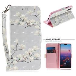 Magnolia Flower 3D Painted Leather Wallet Phone Case for Huawei P20
