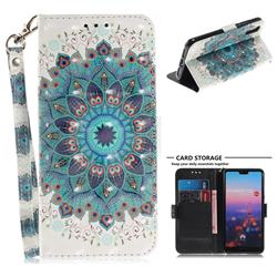 Peacock Mandala 3D Painted Leather Wallet Phone Case for Huawei P20