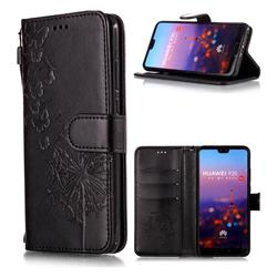 Intricate Embossing Dandelion Butterfly Leather Wallet Case for Huawei P20 - Black