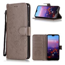 Intricate Embossing Dandelion Butterfly Leather Wallet Case for Huawei P20 - Gray