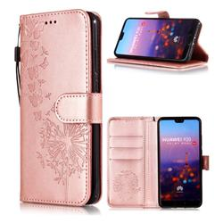 Intricate Embossing Dandelion Butterfly Leather Wallet Case for Huawei P20 - Rose Gold