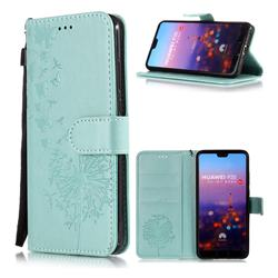 Intricate Embossing Dandelion Butterfly Leather Wallet Case for Huawei P20 - Green