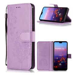 Intricate Embossing Dandelion Butterfly Leather Wallet Case for Huawei P20 - Purple