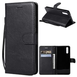 Retro Greek Classic Smooth PU Leather Wallet Phone Case for Huawei P20 - Black