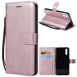 Retro Greek Classic Smooth PU Leather Wallet Phone Case for Huawei P20 - Rose Gold