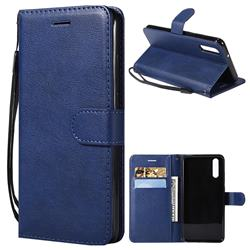Retro Greek Classic Smooth PU Leather Wallet Phone Case for Huawei P20 - Blue