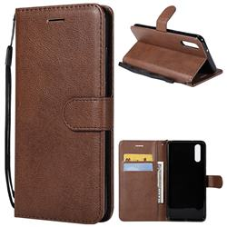 Retro Greek Classic Smooth PU Leather Wallet Phone Case for Huawei P20 - Brown