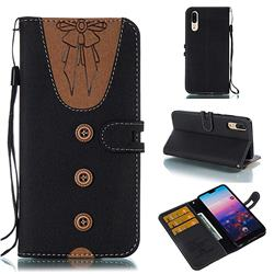 Ladies Bow Clothes Pattern Leather Wallet Phone Case for Huawei P20 - Black