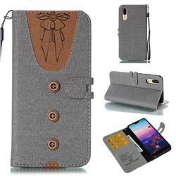 Ladies Bow Clothes Pattern Leather Wallet Phone Case for Huawei P20 - Gray