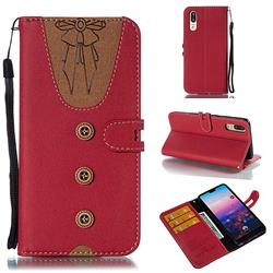 Ladies Bow Clothes Pattern Leather Wallet Phone Case for Huawei P20 - Red
