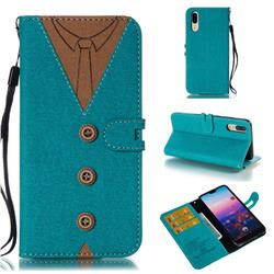 Mens Button Clothing Style Leather Wallet Phone Case for Huawei P20 - Green