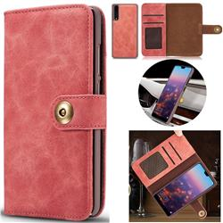 Luxury Vintage Split Separated Leather Wallet Case for Huawei P20 - Carmine