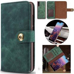 Luxury Vintage Split Separated Leather Wallet Case for Huawei P20 - Dark Green