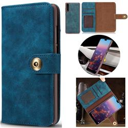 Luxury Vintage Split Separated Leather Wallet Case for Huawei P20 - Navy Blue