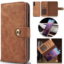Luxury Vintage Split Separated Leather Wallet Case for Huawei P20 - Brown