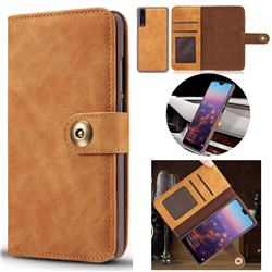 Luxury Vintage Split Separated Leather Wallet Case for Huawei P20 - Khaki