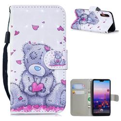 Love Panda 3D Painted Leather Wallet Phone Case for Huawei P20