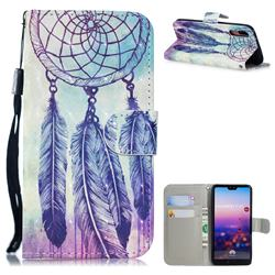 Feather Wind Chimes 3D Painted Leather Wallet Phone Case for Huawei P20