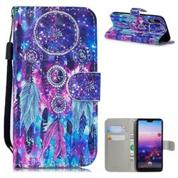 Star Wind Chimes 3D Painted Leather Wallet Phone Case for Huawei P20