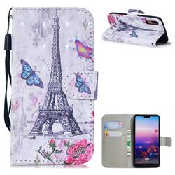 Paris Tower 3D Painted Leather Wallet Phone Case for Huawei P20