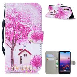 Tree House 3D Painted Leather Wallet Phone Case for Huawei P20