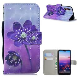 Purple Flower 3D Painted Leather Wallet Phone Case for Huawei P20