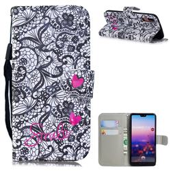 Lace Flower 3D Painted Leather Wallet Phone Case for Huawei P20