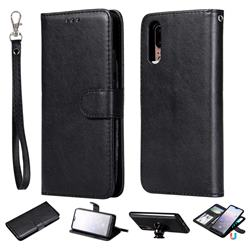 Retro Greek Detachable Magnetic PU Leather Wallet Phone Case for Huawei P20 - Black