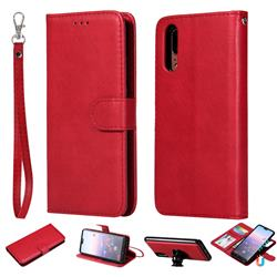Retro Greek Detachable Magnetic PU Leather Wallet Phone Case for Huawei P20 - Red