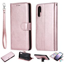 Retro Greek Detachable Magnetic PU Leather Wallet Phone Case for Huawei P20 - Rose Gold