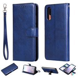 Retro Greek Detachable Magnetic PU Leather Wallet Phone Case for Huawei P20 - Blue