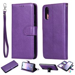 Retro Greek Detachable Magnetic PU Leather Wallet Phone Case for Huawei P20 - Purple