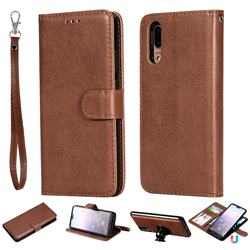 Retro Greek Detachable Magnetic PU Leather Wallet Phone Case for Huawei P20 - Brown