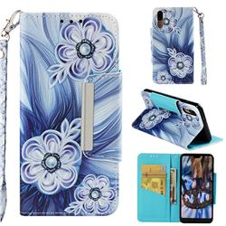 Button Flower Big Metal Buckle PU Leather Wallet Phone Case for Huawei P20