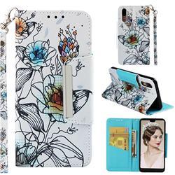 Fotus Flower Big Metal Buckle PU Leather Wallet Phone Case for Huawei P20