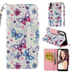Colored Butterfly Big Metal Buckle PU Leather Wallet Phone Case for Huawei P20
