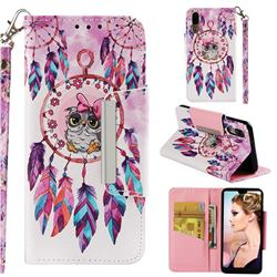 Owl Wind Chimes Big Metal Buckle PU Leather Wallet Phone Case for Huawei P20