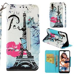 Lip Tower Big Metal Buckle PU Leather Wallet Phone Case for Huawei P20