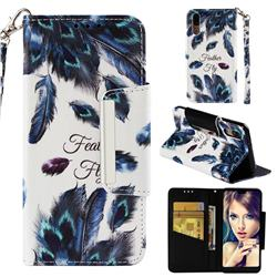 Peacock Feather Big Metal Buckle PU Leather Wallet Phone Case for Huawei P20