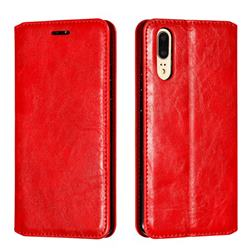 Retro Slim Magnetic Crazy Horse PU Leather Wallet Case for Huawei P20 - Red